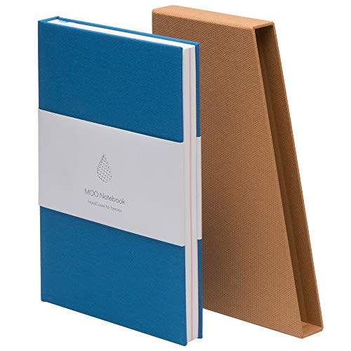 MOO Lined Hardcover Notebook - Premium Blue Lay Flat Journal - Medium-size, Thick 5x8 Paper for Writing and Work, Field Notes and Meetings (Sky Blue)