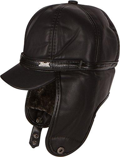 Sakkas 16158 - Cuero de imitación de Piel de visón Ushanka Trapper del piloto del Bombardero Sombrero con Orejeras - Negro - L