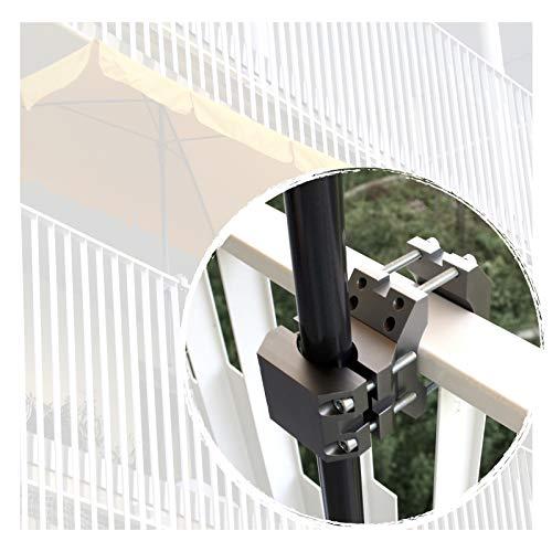 KD-TECH Sonnenschirmhalter für Balkongeländer Handlauf rund eckig Schirme Sonnenschirmständer (Anthrazit) aus Aluminium