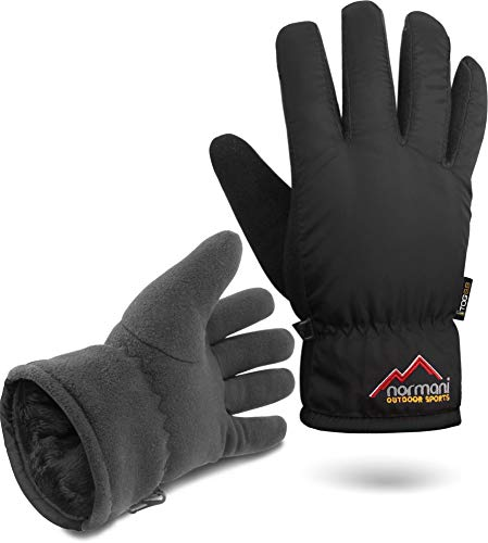 normani Herren Winter Thermo Handschuhe mit Fleece extrem hoher TOG-Wert 9.8 bis -10°C Farbe Black Größe S/M