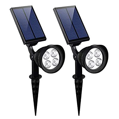 CANAGER Solar Spotlights Outdoor,Waterproof Solar Powered Landscape Lights for Yard,Garden,Driveway-White-2Packs