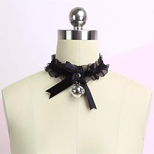 Vrouwen Gothic Simple Sexy Lace Collar Pendant Bow Knot Bell Choker Ketting Jurk Meisjes Party Jewelry ZHQHYQHHX (Color : Black, Size : Free)