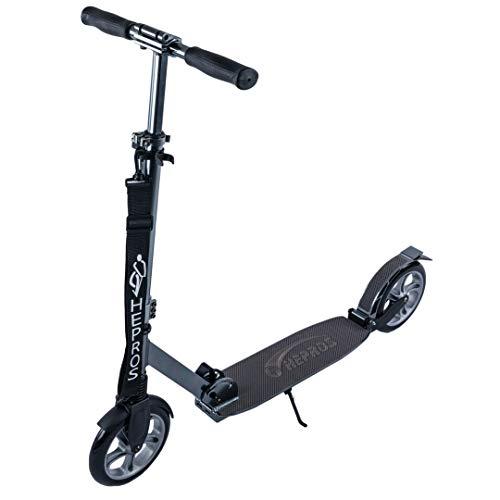 Hepros Fully Scooter PU-Wheel 200mm Cityroller Erwachsene Anthrazit ABEC7 Radlager Farbe Carbon