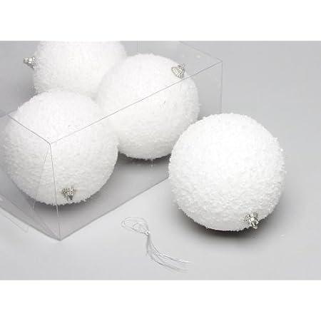 Schneebälle Weihnachtskugeln mit Schnee Schneekugeln Christbaumkugeln weiß