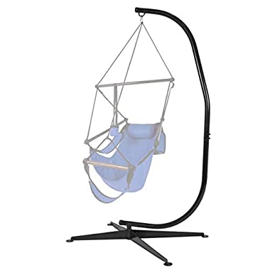 Best Choice Products Metal Hanging Hammock Chair C-Stand for Hammock Air Porch Swing Chair - Black