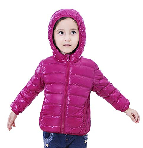 QCHENG Kinder Junge Mädchen Ultraleichte Daunenjacke mit Kapuze Leicht Verpackbar Herbst Winter Warme Jacket Steppjacke Daunenmantel Rosa rot 110cm(Höhe:91-100cm)