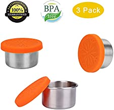 ShineMe Condiment Containers with Leak Proof Silicone Lids Stainless Steel Mini Reusable 1.6oz Condiment Cups, Food-grade Silicone, BPA Free - 3 Pack (Mini Condiment Cups)