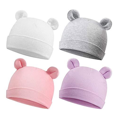 Duoyeree Baby Hats Newborn Baby Beanie Bear Baby Boy Hat Newborn Girl Caps for Baby Warm (White Grey Pink Purple)
