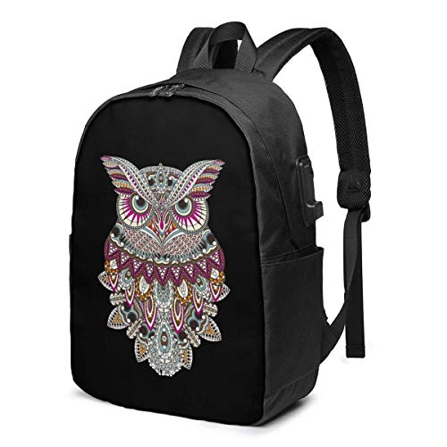 Travel Laptop Backpack, Hand Painted Owl Travel Laptop Backpack College School Bag Casual Daypack with USB Charging Port