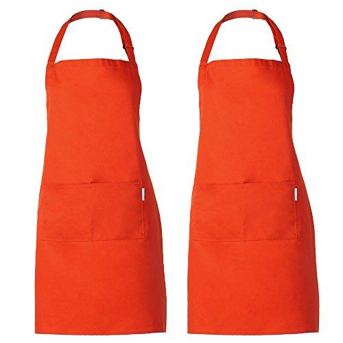 esonmus 2PCS Set Adulti Poliestere Cucina Grembiule Ristorante Barbecue con Cintura Regolabile Collo 2 Tasche per Cucinare Cottura Giardinaggio per Uomo Donna-Arancione