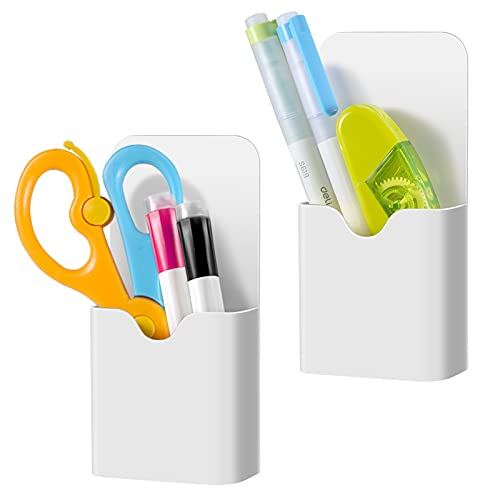 CaseBot Magnetic Marker Holder, Pen Holder for Whiteboard or Fridge, Magnet Pencil Cup Storage Organizer for School, Office, Home, Locker and Metal Cabinets, 2 Pack (White)
