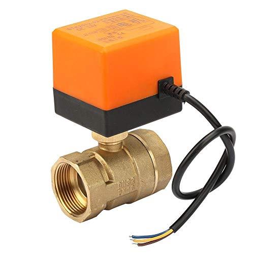 OGUAN Válvula eléctrica, Válvula de Bola motorizada, 2 vías 3 de Alambre de latón válvula de Bola motorizada DC 12V 6W DN32 G1-1 4 Pulgadas Tema/Válvula for el Sistema de Control de Agua del Aire AC