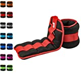 REEHUT Ankle Weight, Durable Wrist Weight 1 Pair Adjustable Strap for Fitness, Exercise, Walking, Jogging, Gymnastics, Aerobics, Gym - Red