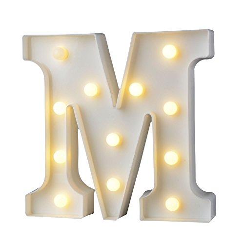 Décoration LED Alphabet Lettres,Billets décoratifs DIY LED Lettres Sign pour réceptions de mariage de partie Maison de vacances et salle de bain Bar la mariée Décor (M)