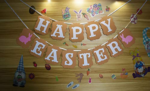Yarosy Easter Brown Paper Banner, Easter Bunny Decoration Family Easter Party Supplies
