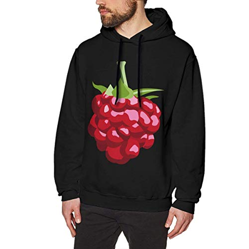 Men's Foods Fruits Raspberry Hoodies Sweatshirt Pullover Sweater, Long Sleeves Hooded Clothing Suits M