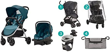 Evenflo Folio Travel System, Meridian with Stroller Accessories Starter Kit