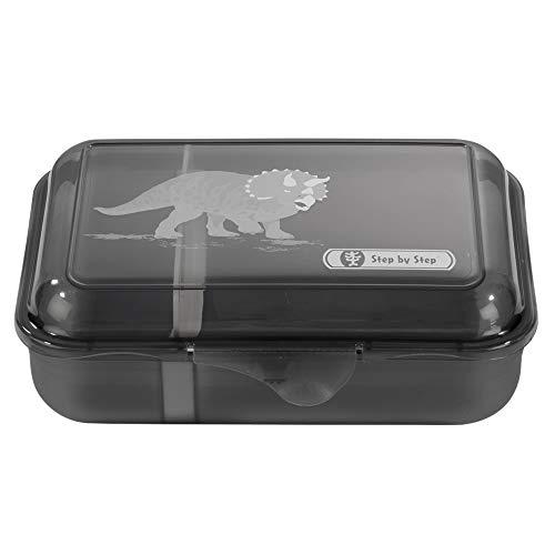 """Step by Step Lunchbox """"Dino Life"""", schwarz, mit Trennwand und Klickverschluss, spülmaschinenfest, BPA-frei, für Schule und Kindergarten, für Jungen, 0,9 Liter"""
