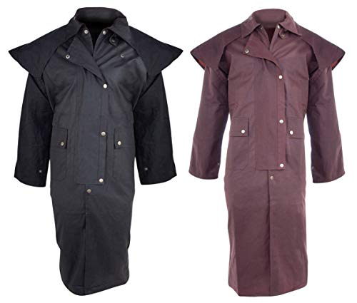 AceRugs Black Brown Mens Oilskin Duster Coat S M L XL 2XL 3XL 4XL 5XL 6XL Australian Outback Waterproof Jacket (Brown, Large)