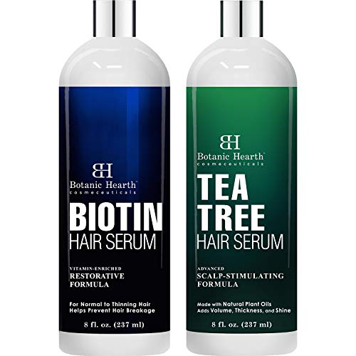 Botanic Hearth Biotin Hair Serum and Tea Tree Oil Hair Serum Bundle - Nourishes & Hydrates Dry & Damaged Hair, for Men and Women - For Soft, Strong and Smooth Hair
