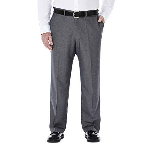 Haggar Men's Big & Tall Cool Gabardine Expandable-Waist Plain-Front Pant Graphite 46x32