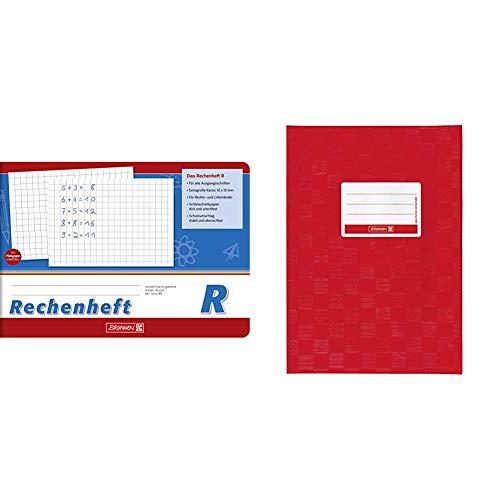 Brunnen 1045989 Rechenheft Klasse 1 (A5, 16 Blatt, quer, kariert, Lineatur R) & 104052524 Hefthülle/Heftumschlag (A5, Folie, mit Namensschild) rot