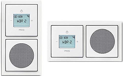 Busch Jäger Unterputz UP Digitalradio 8215 U (8215U) future studioweiß Komplett-Set Lautsprecher + Radioeinheit + Abdeckungen in 2 fach Future Rahmen integriert