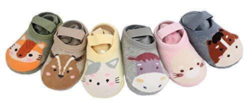 Lot de 6 paires de chaussettes antidérapantes pour bébé garçon fille en coton épais - Multicolore - M