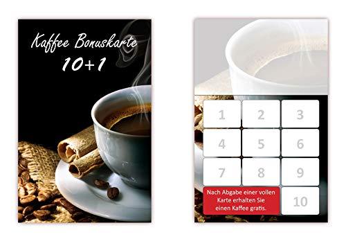 250 Stück Bonuskarten Kaffee (BOK-414) mit 10 Stempelfeldern Treuekarten möglich für Bereiche wie Café Gastronomie, Restaurant, Gaststätte, Bäcker, Konditor …