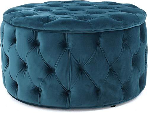 ZXYY Otomana/Banco de Almacenamiento de Terciopelo capitoné Taburete con cabecera de Cama Taburete para sofá Botón Redondo Moderno  Diseño Contemporáneo (Color: Azul)
