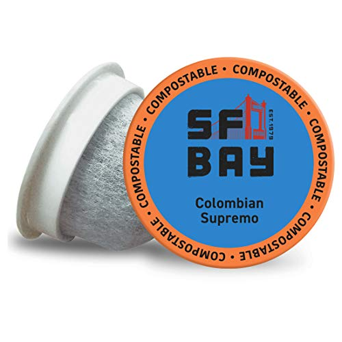 SF Bay Coffee Colombian Supremo 80 Ct Medium Roast Compostable Coffee Pods, K Cup Compatible including Keurig 2.0