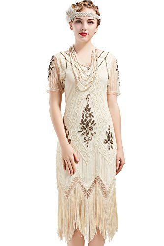 ArtiDeco - Vestido de mujer estilo años 20 con mangas cortas, disfraz de Gatsby para fiestas temáticas beige S