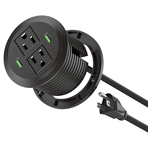 Power Grommet with USB,Desktop Power Outlet with 2 AC Outlet and 2 Quick USB Charging Ports.Power Socket with 6ft Heavy Duty Extension Cord & Easy Mounting.