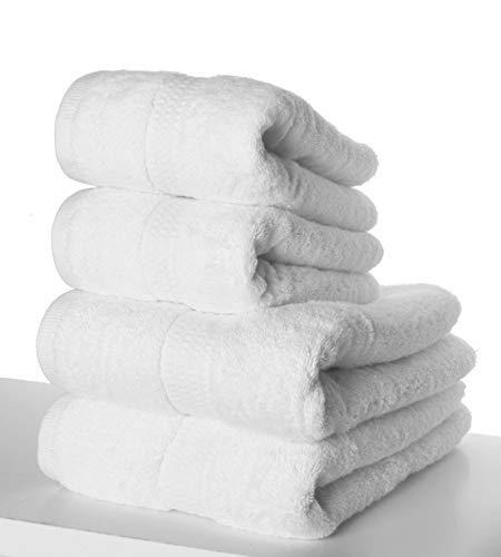 PimpamTex – Juego de Toallas Premium 700 Gramos de Secado Rápido para Baño, 100% Algodón, Pack Toallas de Baño + Toallas de Mano – (Blanco, 2 de 70x140 cm + 2 de 50x100 cm)