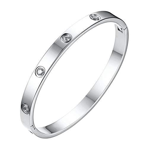 Flongo Pulsera plateado para mujer, pulsera con incrustaciones de circonio en acero inoxidable, estilo sencillo,Regalos San Valentín