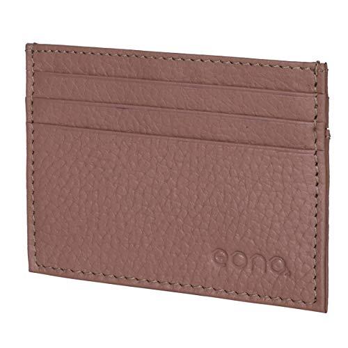 Amazon Brand - Eono - Tarjetero de Cuero con Compartimento para Billetes para Mujer y Hombre con diseño Plano y protección contra Lectura RFID (Desnuda)
