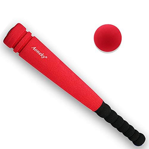 Aoneky Mini Set de Béisbol de Espuma para Niños - Bate y Pelota, Juguete de beisbol para Entrenamiento Diversión, Juego Seguro Espuma Suave, Deportes al Aire Libre Exterior Interior (Rojo)