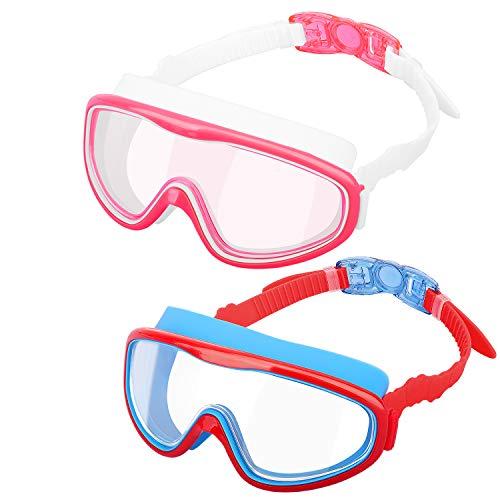 HeySplash [2PZS Gafas de Natación para Niños Transparente Sin Fugas Anti-vaho, Antiniebla Gafas Protección UV de Visión Amplia con Clips de Nariz y Tapones para Oídos - Rosa + Rojo