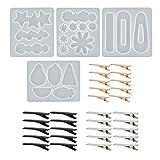 Kits de silicona de moldes de joyería de 34 piezas, juego de herramientas de moldes de fundición de resina para horquilla, molde de silicona epoxi para hacer joyas de bricolaje