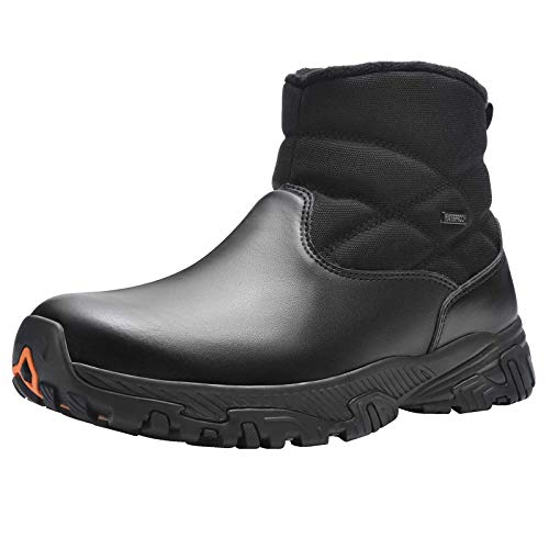 SILENTCARE Men's Waterproof Hiking Boots Slip-On Mid Ankle Boot Winter Outdoor Work Shoes With Zipper