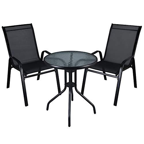 LXDUR - Juego de muebles de jardín para interiores y exteriores, mesa de cristal y sillas de...