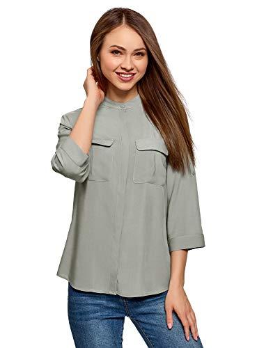 oodji Ultra Damen Viskose-Bluse mit Brusttaschen, Grau, DE 42 / EU 44 / XL