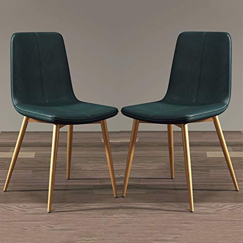 zyy Juego de 2 sillas de cocina, estilo vintage, sillas de comedor, sillas de cocina, sillas de salón y sala de estar, con patas de metal, asiento y respaldos de piel sintética (color verde)