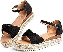 Sandale Compensé Femme Espadrilles Plateforme Bout Ouvert Romaines Sandals Gladiateur Plage Été Legere Boucle Chaussure...