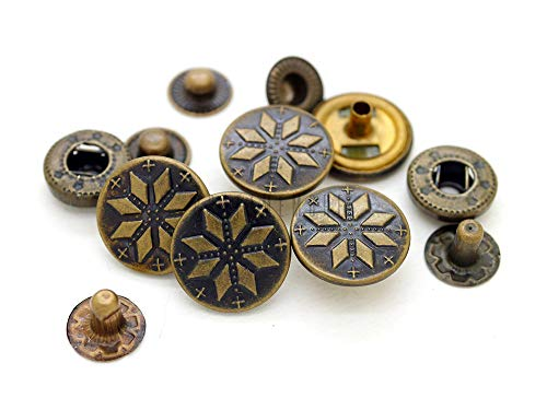 CRAFTMEmore 5/8inch Antique Brass Bohemian Fasteners Popper Snaps Closure Snowflake Rivet Stud Button Leather Decoration Pack of 5 (Antique Brass)