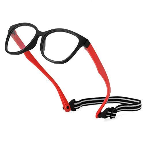 Kids Blue Light Blocking Glasses TPEE Rubber Flexible Frame With Glasses Rope, for Children Age 2-10 (Black/Red)
