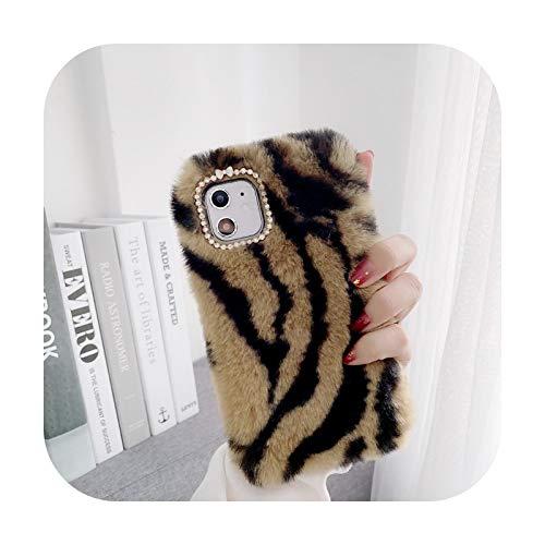 Phone cover Schutzhülle für iPhone 12, modisch, Plüschhaar, für iPhone 12 / 11 Pro Xs Max Xr X 8 / 7 / 6S Plus, Leopardenmuster, weich, TPU, Braun