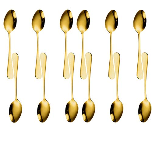 TANCEQI Cucharillas de acero inoxidable para pulir con espejo, cucharillas de cena juego de 12 cucharadas de acero inoxidable de tamaño más grande de cucharas de postre, 20 cm