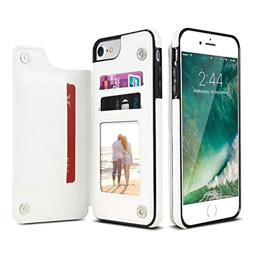 KIOKIOIPO-N Art und Weise Retro- PU-Leder-Kasten Multi-Kartenhalter-Telefon-Kästen for iPhone 6 6s 7 8 Plus 5S SE, iPhone X XS Max XR, Samsung S7 S8 S9 S10 for iPhone 7 8 (Color : White)