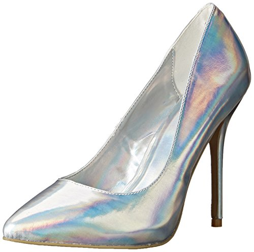 Pleaser Damen AMU20/SHGPU, Silberfarbenes Hologramm Polyurethan, 43 EU